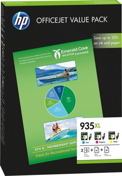 HP 935XL [F6U78A] HC ValuePack (C2P24A+C2P25A+C2P26A) cyan+magenta+yellow Tinte + 50 Blatt AIO-Papier + 25 Blatt 180g/m² matte Fotopapier
